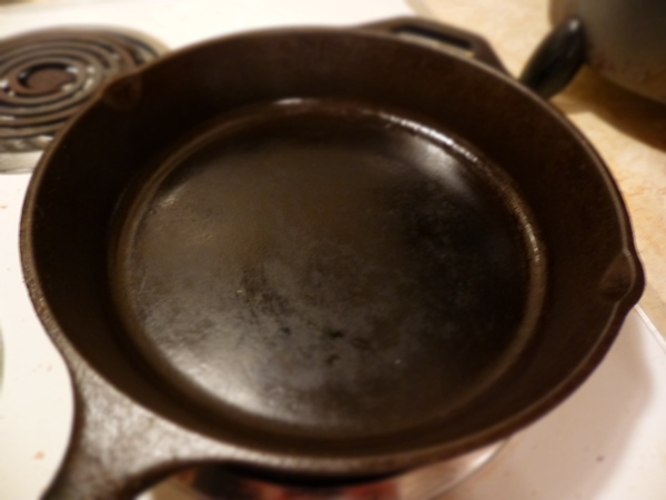 Start with a nice cast-iron skillet with high sides.