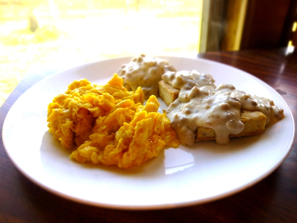 eggs and biscuits and sausage gravy
